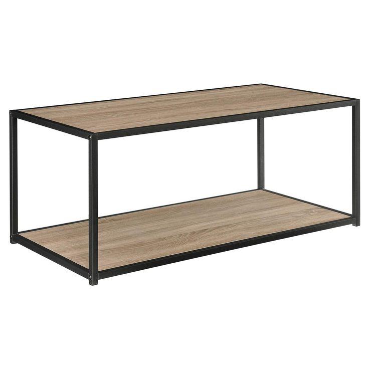 Industrial is in. Update your living room with one of the hottest looks in interior design with this sleek coffee table from Altra Furniture. Great in virtually any décor, including modern, transitional and casual spaces, this unique coffee table features a warm Sonoma Oak wood grain finish on the top and lower shelf, offset by a cool metal frame in a Gunmetal Gray finish. The lower shelf offers ample room for magazines, photo albums and other decorative items. Plus, the coffee table&...