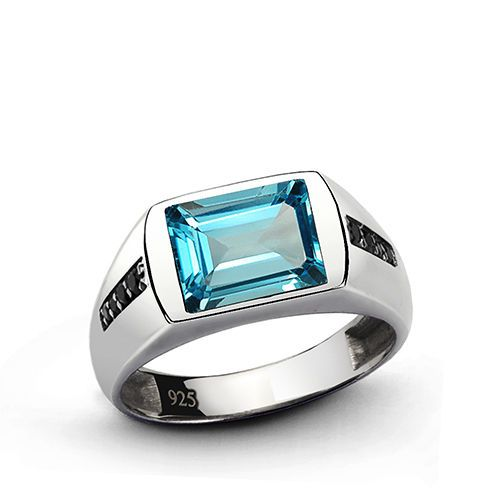 Mens Ring 925k Sterling Silver 3.40ct Blue Topaz Sapphire Emerald Ruby all sizes #JFM #SolitairewithAccents