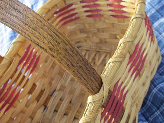 Red Striped Market Basket