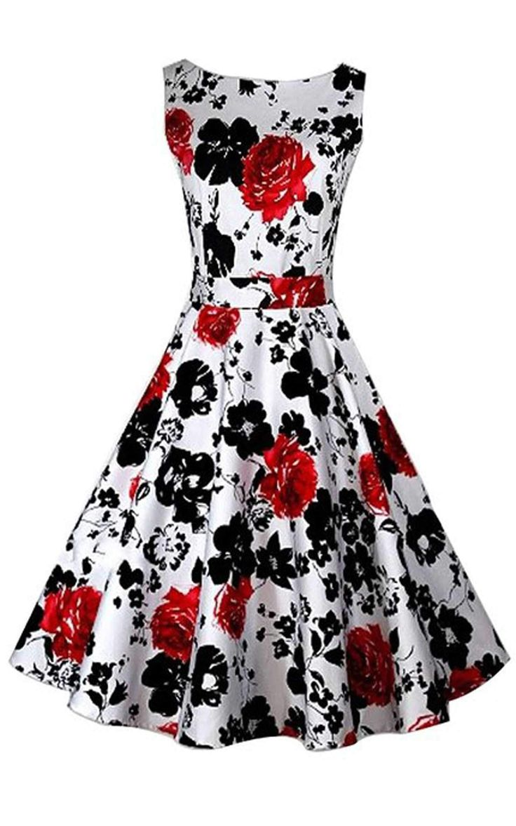 Naughty Gal Shoes : ACEVOG Vintage 1950's Floral Spring Garden Party Picnic Dress Party Cocktail Dress