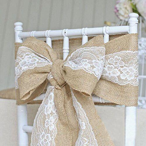 2016 vintage  wedding chair decoration burlap lace ribbon sashes lace ribbon chair bows  15x240cm/pcs