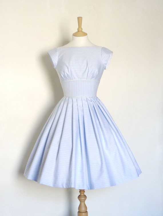 Blue & Ivory Striped Tiffany Prom Dress with Cap Sleeves - Made by Dig For Victory