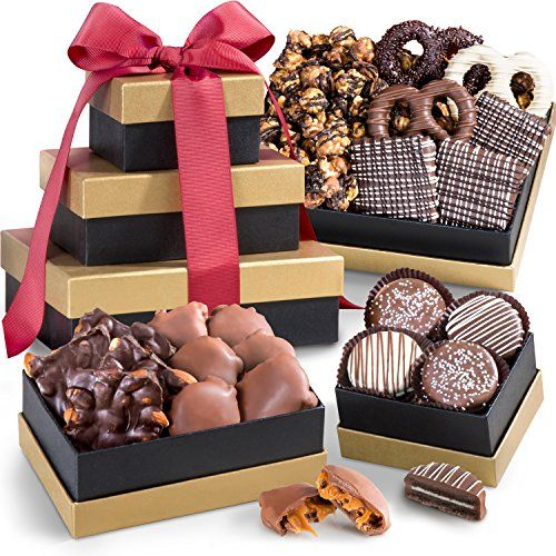 Golden State Fruit Chocolate, Caramel, and Crunch Gift Tower - Treat someone special with a gift of delicious real chocolate confections for Valentines Day or any occasion. Milk chocolate caramel pecan clusters, dark chocolate almond bark, and milk, white and dark chocolate covered pretzels. Chocolate covered Oreos and graham crackers, and our hand made Midn...