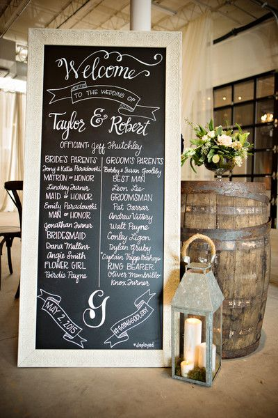 Wedding ceremony program alternative idea - huge chalkboard sign {35 Atlanta}