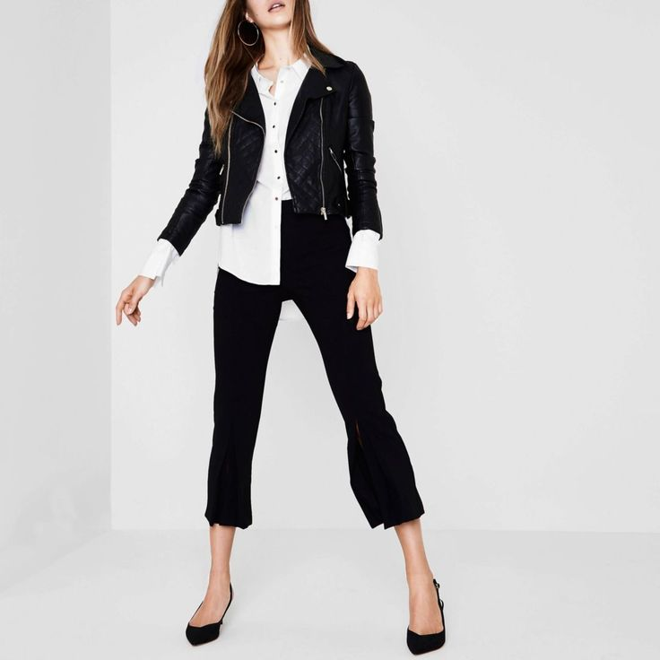 Faux leather fabric Biker collar Quilted biker panels Long sleeve with zip cuff Front zip pockets Asymmetric zip front fastening Our model wears a UK 8 and is 175cm/5'9'' tall