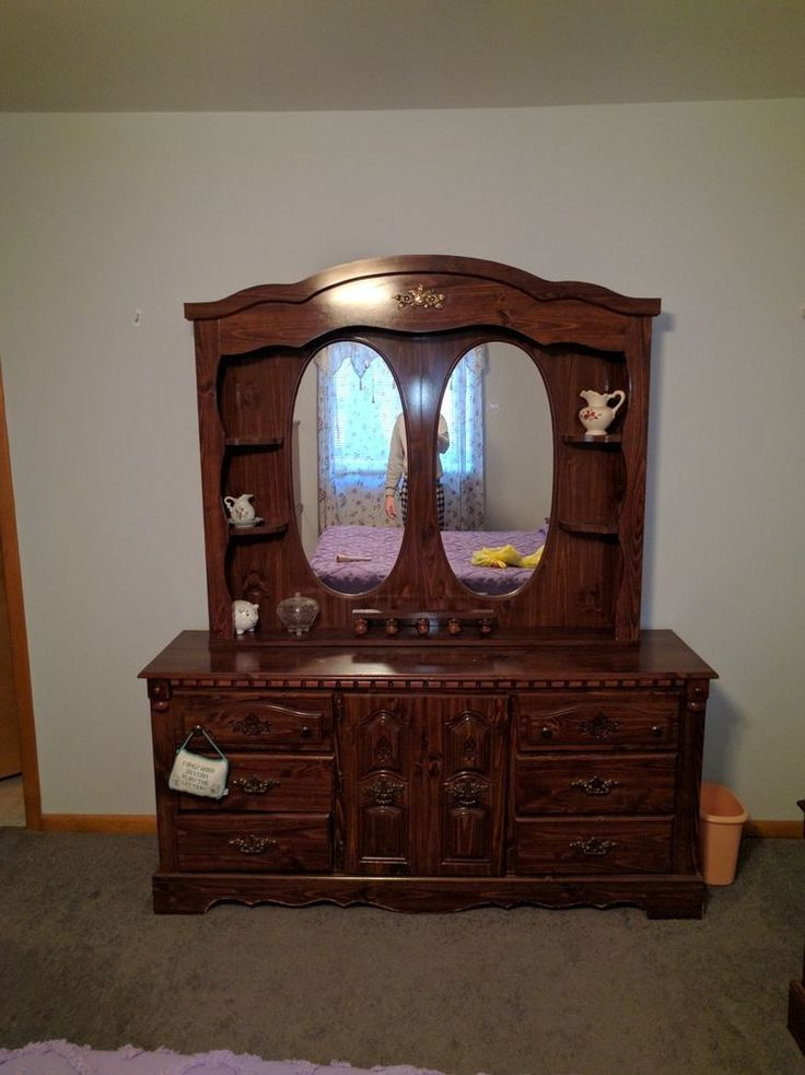 This is a great antique style dresser with mirror and plenty of small shelves to place pictures and jewelry. | eBay!