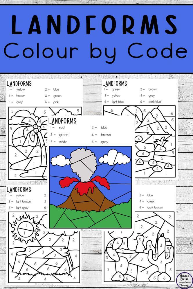 Landforms Colour By Code Worksheets Landforms Worksheet Kindergarten Worksheets Kindergarten Worksheets Printable Landform worksheets 4th grade
