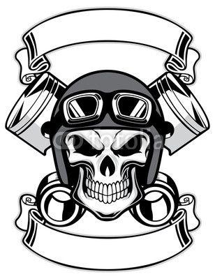 Vector: skull wearing retro motorbike helmet