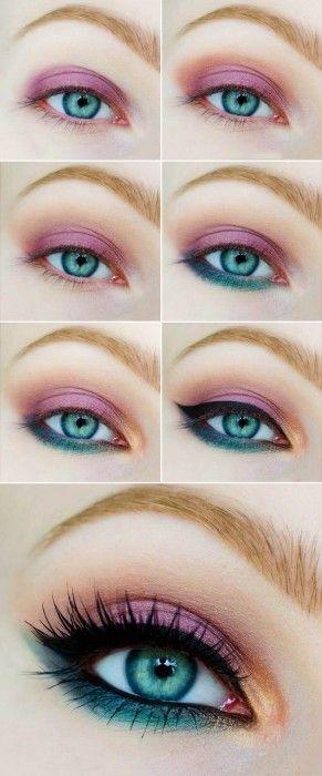 Tutorial de maquillaje de ojos en color rosa con verde Más