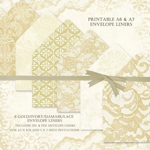 DIY Envelope Liners Gold and Ivory Lace by BaerDesignStudio