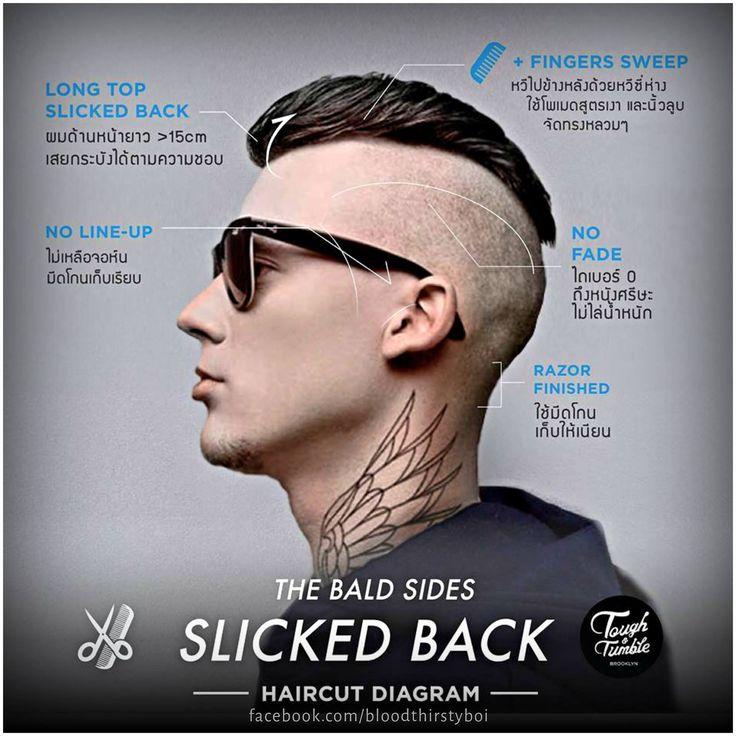 Bald sides Slicked back