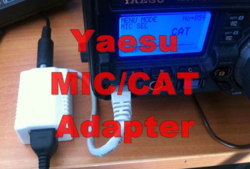 Yaesu MIC/CAT Adapter for FT-450, FT-857, FT-897, FT-900 and compatible With this adapter, you can use the MIC port of your transceiver, to connect Mic and a CAT interface simultaneously.  It is useful when you need two CAT ports, to connect for example a tuner to the CAT port and at the same time you need a CAT port to connect your computer and control your transceiver. It is very easy to connect it to your radio. Just remember to change menu to recognize it (e.g. menu option 059 at 897D).