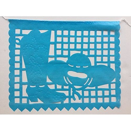 Rodeo Party large PLASTIC Mexican papel picado banner 16 feet long designs as pictured.