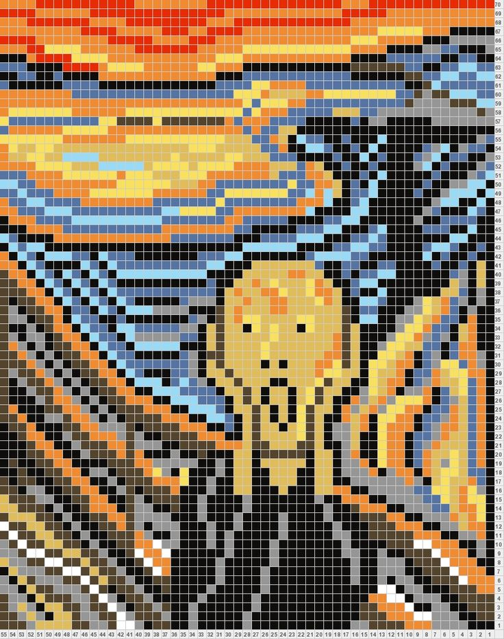 The Scream - this is a knitting chart, but could work for cross stitch as well...?