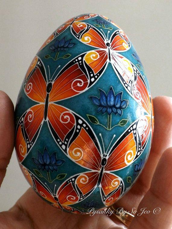 Made To Order Butterflies Pysanka Pysanky Batik Ukrainian Style Easter Egg Art EBSQ Plus #NIEggs