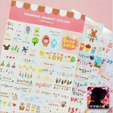 6 unids/lote (1 bolsas) DIY Kawaii Lindo de la Historieta Coreana Chica Pegatina para Bloc de Notas Diario Decoración Al Por Mayor Envío gratuito 517(China (Mainland))