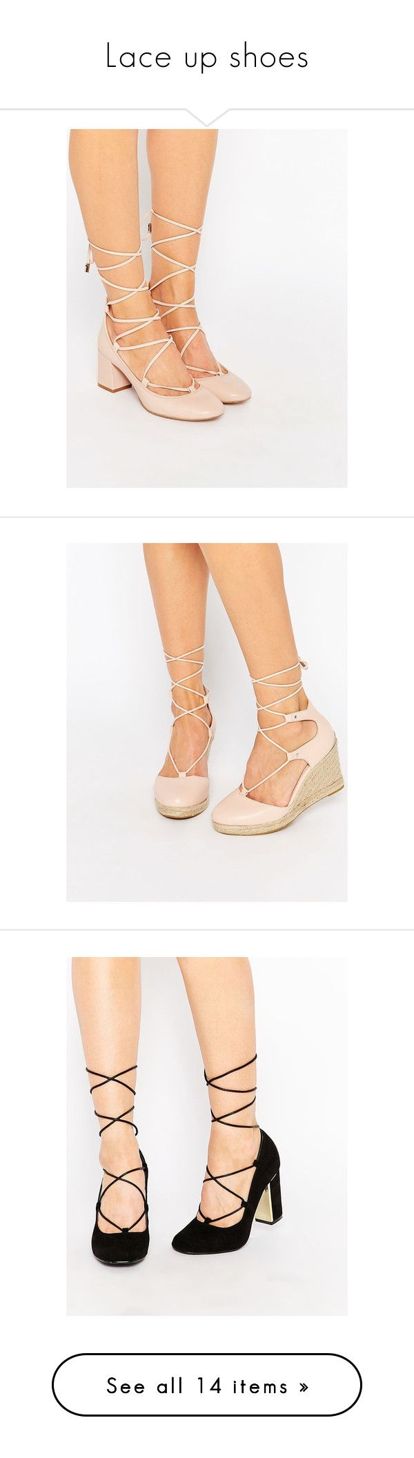 """""""Lace up shoes"""" by olga-kim-b ❤ liked on Polyvore featuring shoes, pumps, pale pink, suede shoes, lace up pumps, nude kitten heel shoes, suede lace up shoes, tie shoes, wedges shoes and round toe wedge shoes"""