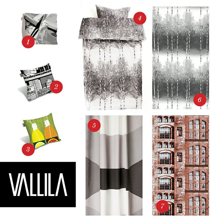 "More christmas gift ideas from Vallila! 1. ""Not Designed by D.K.""  2. ""Helsinki"" cushion cover 43 x 43 cm. 3. ""Jaffa"" Cushion cover 43 x 43 cm. 4. ""Koivikko"" duvet covers 5. ""Cube"" ready-made curtain, 140 x 240 cm. 6. ""Koivikko"" as ready-made curtains.7. ""Panimo""shower curtain."