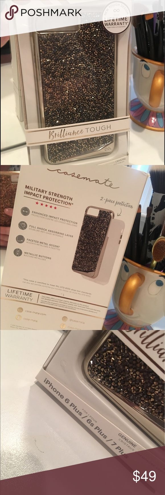 """❤️SOLD❤️ Case-Mate Brilliance TOUGH for iPhone Brand new, still sealed in package Case Mate Brilliance TOUGH case for iPhone 6/6s/7 PLUS. (It will fit all three). The pictures really don't do the case justice, it is absolutely beautiful and so sparkley!! The color is """"champagne"""", but it's really silver. This is also the tough version of the case and comes with a lifetime warranty. These retail for $80. If you have any questions, feel free to ask. Thank you for looking! (Due to Posh fees…"""