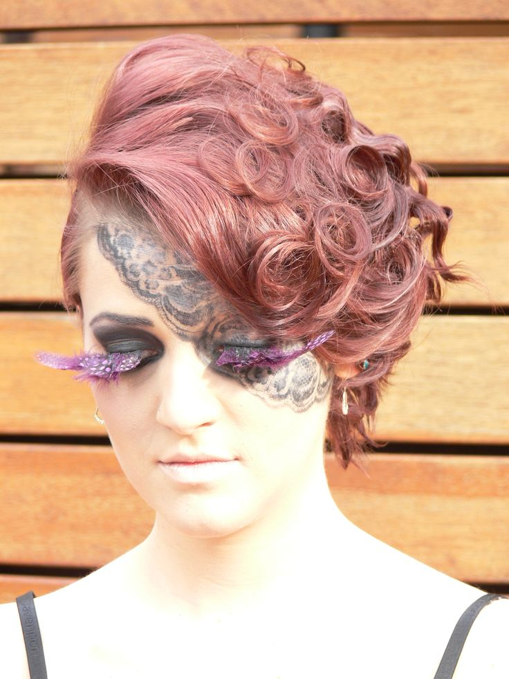 Costume makeup - feather lashes and lace art.  Learn how - www.chisholm.edu.au
