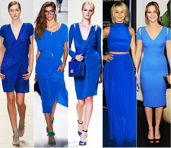 El azul cobalto estuvo presente en la colección de diseñadores como Elie Saab con estilos monocromáticos en este color clásico, Jennifer Lawrance usa un Victoria Beckam en este color.