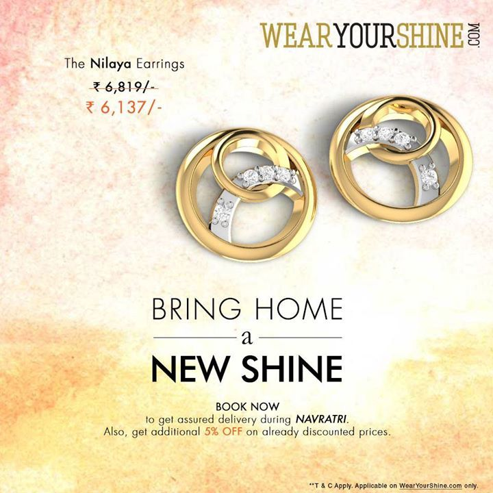 """Avail 10% off on """"The Nilaya Diamond Ring"""" Book now to get assured delivery during Navratri. Make it special this Navratri with WearYourShine Book now : http://goo.gl/CX9xjC  #WearYourShine #Love #PCJeweller #Like #New #Me #Follow #Fashion #Trends #Women #Jewellery #India #Jewels #Diamonds #Rings #Gold #IndianJewellery #Jewelry #happiness"""