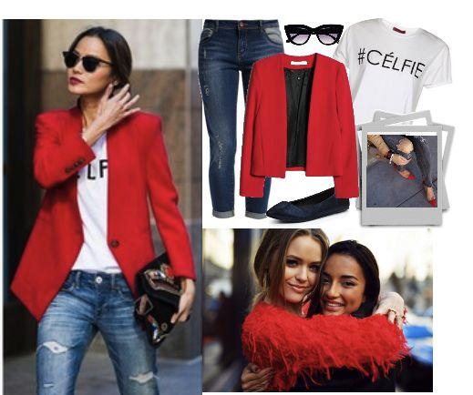Красный пиджак и джинсы,  fashion look, jeans and a red jacket