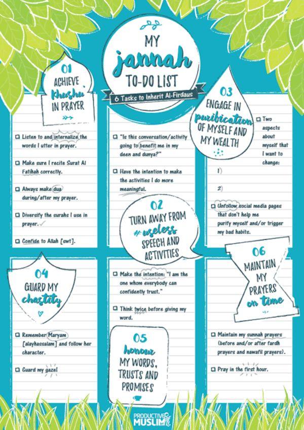 Your Jannah To-Do List: 6 Tasks to Inherit Al-Firdaus (The Highest Paradise) | ProductiveMuslim