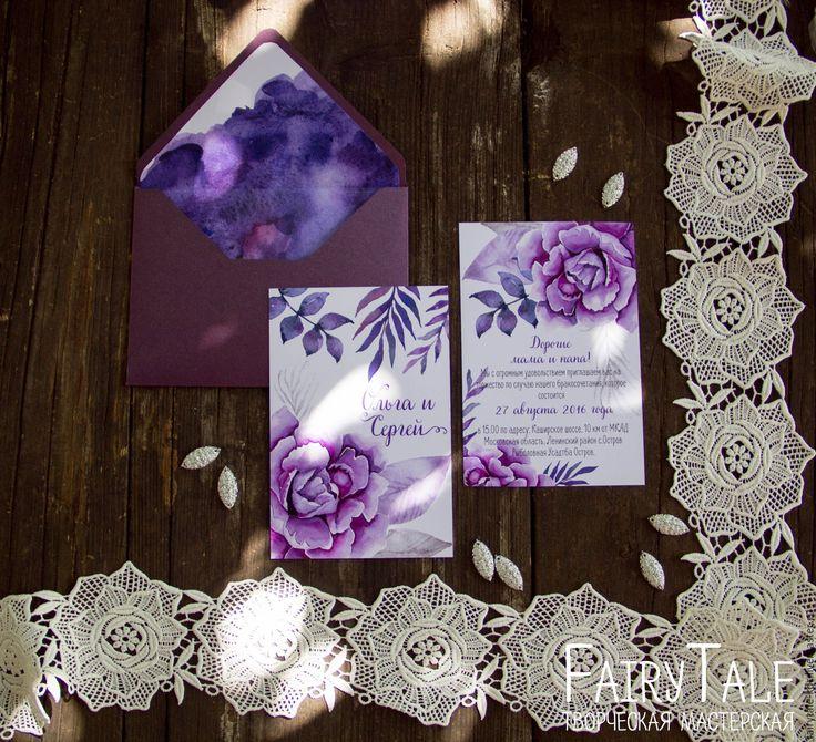 """Купить Приглашение на свадьбу """"Фиолетовый пион"""" - фиолетовый, приглашение, приглашение на свадьбу, дизайн приглашений"""