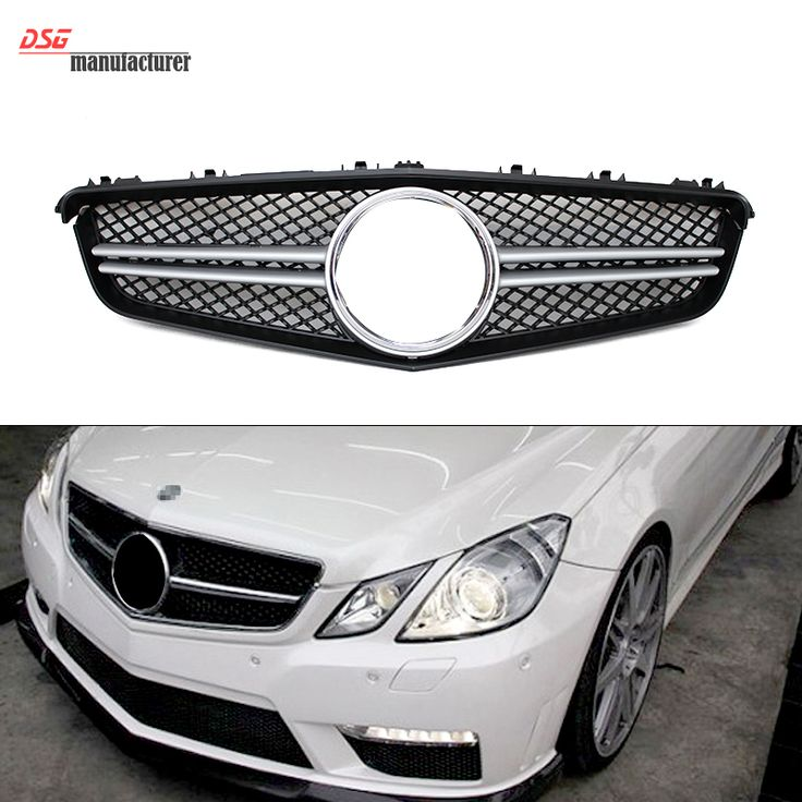 Mercedes E Class W207 Coupe AMG Look 2 Fin Grill Grille Silvery for Benz 2010   2013 E350 E550 E250