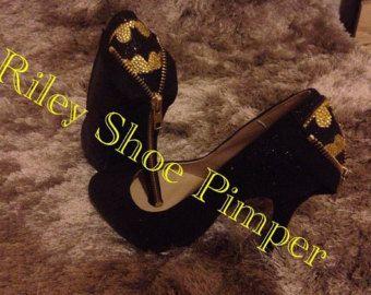 Glitter Batman heels by RileyShoePimper on Etsy
