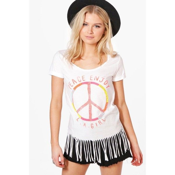Boohoo Lily Beaded Peace Slogan Fringed T-Shirt ($16) ❤ liked on Polyvore featuring tops, t-shirts, crop t shirt, white crop top, fringe kimono, crop tee and jersey t shirt