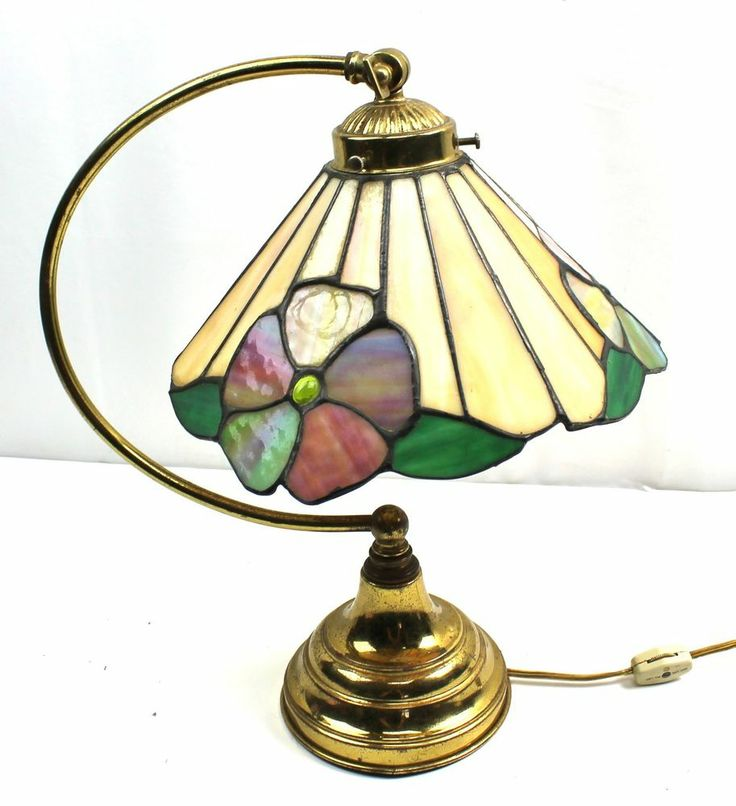 Vintage Tiffany Style Stained Slag Glass Arch Drop Flower