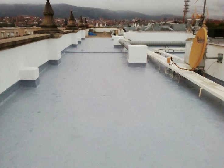 Impermeabilización de cubierta con Poliurea, protección de poliuretano alifatico