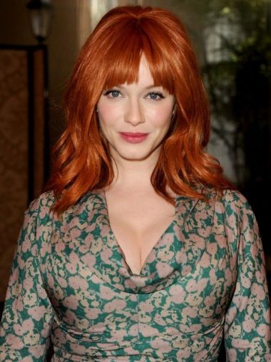 Natural Shoulder Length Wavy Capless Copper Wigs 16 Inch