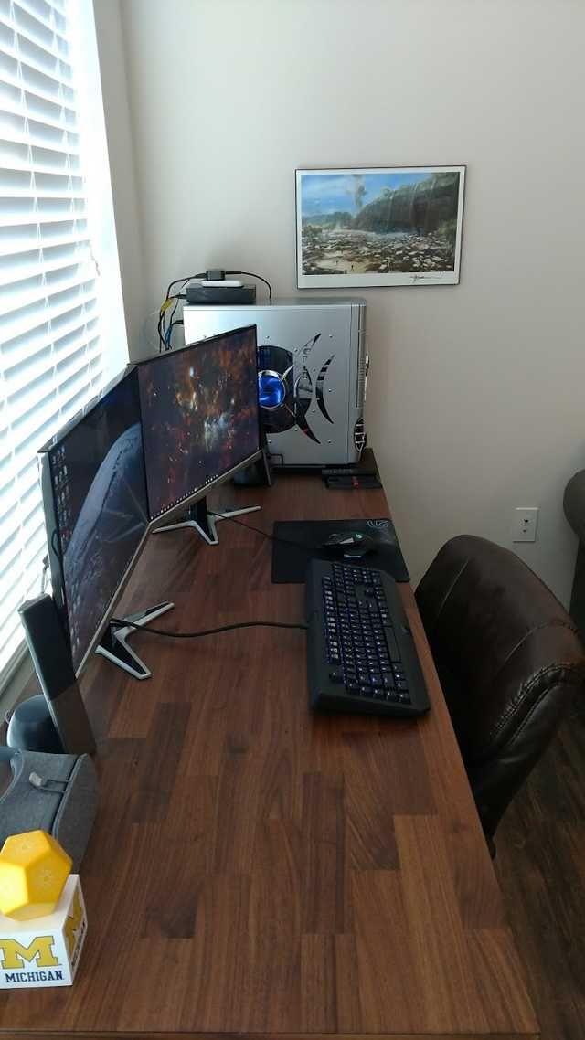 R Battlestations Ikea Hack Karlby Computer Desk In 2020 Desk Game Room Design Ikea Hack