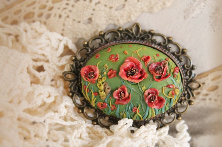 Retro Inspired Polymer Clay Handmade Brooch, Vintage Polymer Clay Brooch, Shabby Chic Clay Poppies Brooch,Canadian Remembrance Poppy Day Pin by ArtsomeBoutique on Etsy