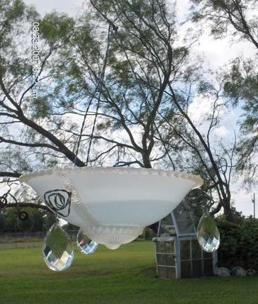 DIY Craft Projects for the Yard and Garden - Trash to Treasure.  Bird baths from old glass light fixtures.  You can buy these kind of old glass light fixtures all day long on eBay or your local salvage or antique stores...and they already come with three holes in them for hanging!