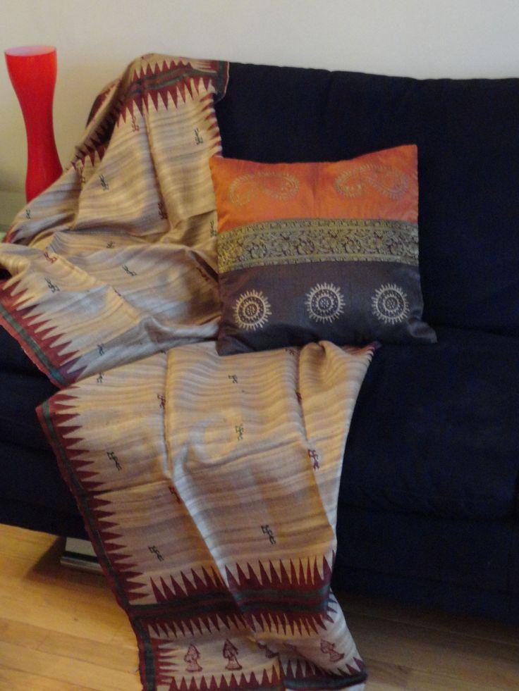Beige burgundy sofa throw, Indian ethnic hand painted sofa throw. Trib –…