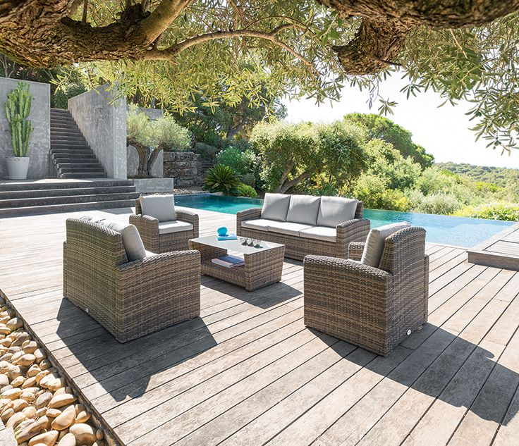Salon Polynésia - Table basse de jardin - Fauteuils et ...