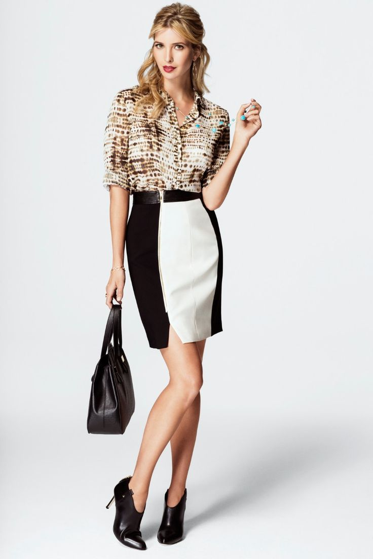 Ivanka Trump Blouse, Ivanka Trump Skirt, Ivanka Trump Handbag and Ivanka Trump Juno Booties..love it all but especially the shoes