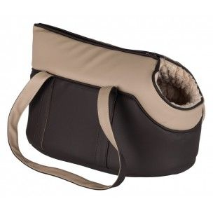 Sac de transport pour chiens et chats.Dimensions: 25 × 29 × 46 cm. Sac en immitation cuir, brun et beige.