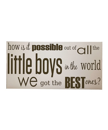 Take a look at this Cream & Brown Best Little Boy Wall Art by Vinyl Crafts on #zulily today!