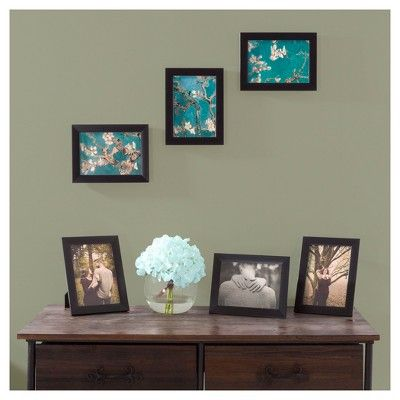 5x7 Frames Pack For Picture Gallery Wall With Stand and Hanging Hooks, Set of 6 By Lavish Home - Black