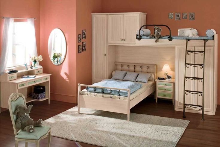 Bedroom Ideas for Small Room with cabinet also rustic look stairs plus white carpet on dark cabinet then desk with drawer on windows