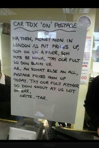 A sign in a post office in Cradley Heath