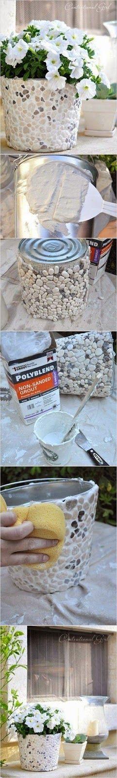 Alternative Gardning: DIY rock covered bucket