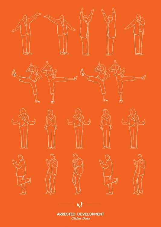 """Love this Arrested Development print, the Pulp Fiction one, Six Feet Under, Seinfeld (of course), and pretty much all of them.   """"The Dancing Plaque of 1518"""" series of famous dances by Niege Borges Alves"""