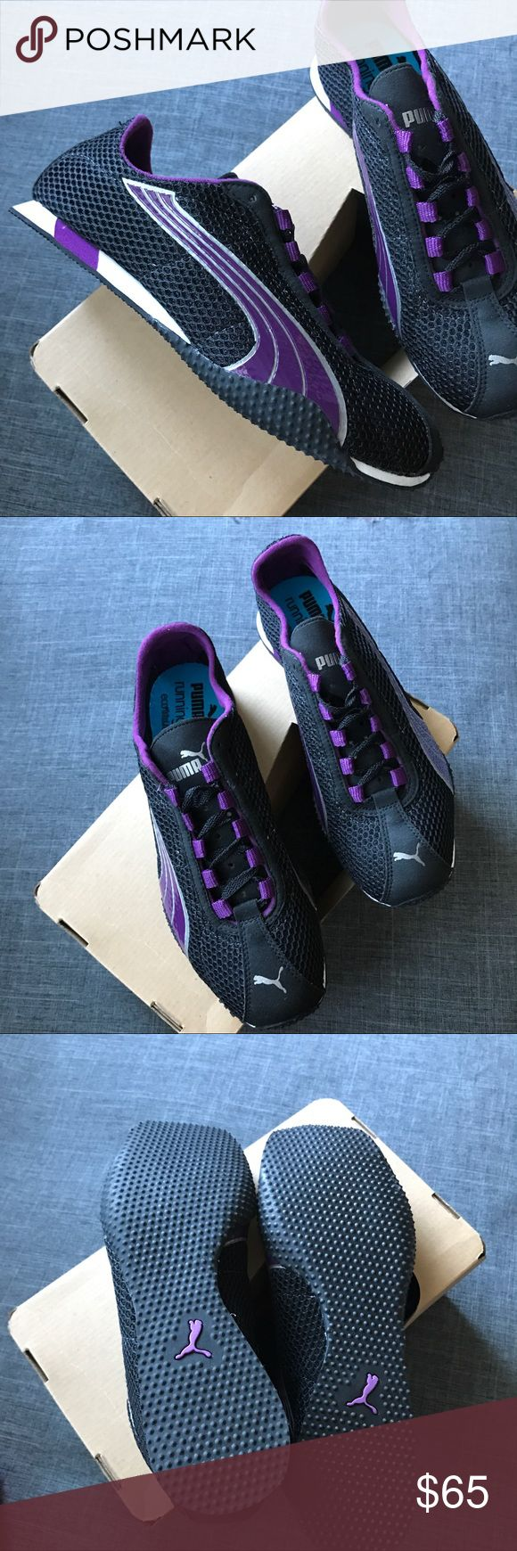 PUMA H-Street + NM Running Shoes Brand new in box Puma running shoes. In Black and Purple Light weight, mesh and very comfy. Size 9. Come in box with clever little bag. Smoke and Pet free home. Excellent condition. Puma Shoes Athletic Shoes