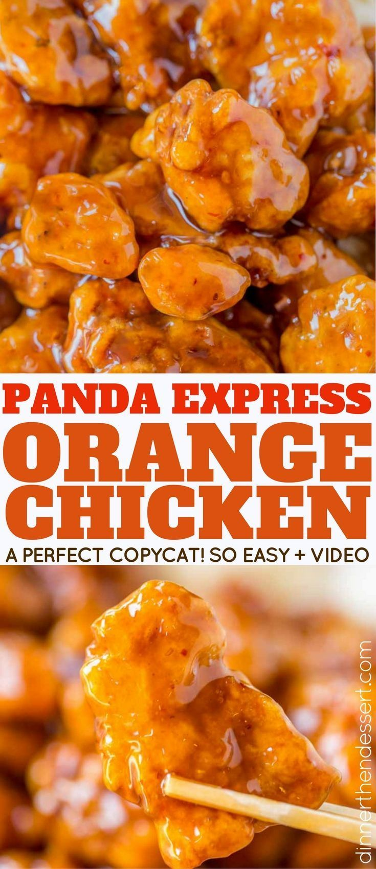 Panda Express Orange Chicken with tender chicken thighs fried crisp and tossed in a magical perfect-copycat sauce! With a video! #chinesefoodrecipes